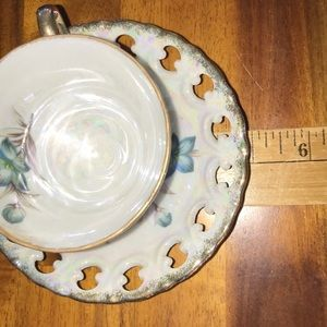 Vintage Kitchen - Vintage JAPAN Small Teacup & Saucer~Iridescent